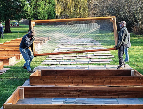 volunteers install raised beds for a community garden